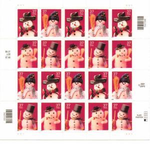 US 3676-79 - 37¢ Christmas Snowmen Unused