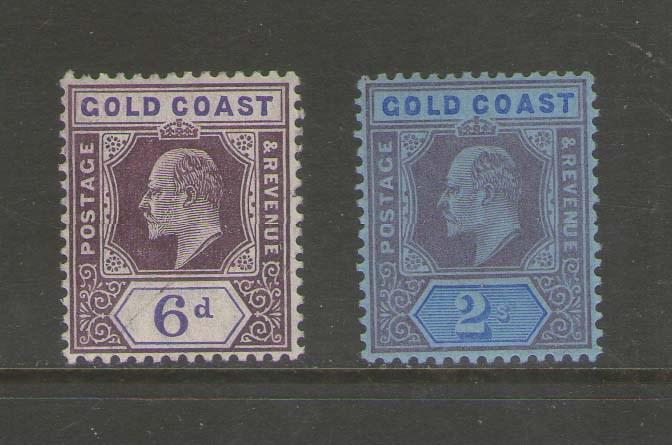 Gold Coast 1907 KEVII SG 64,66 MH