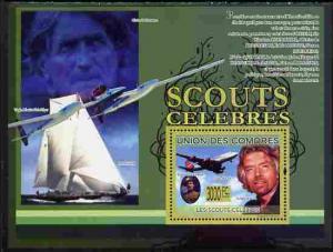 Comoro Islands 2009 Famous Scouts perf souvenir sheet unm...