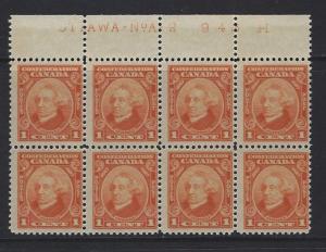 CANADA - #141 - 1c SIR JOHN A. MACDONALD PLATE A-2 BLOCK OF 8 (1927) MNH