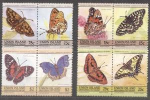 Union Island 1985 Butterflies, pairs, MNH M.037