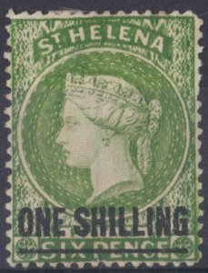 s0026) St. Helena. 1884/94. Unused SG 45 1/- on 6d Yellow-green Royalty  c£65