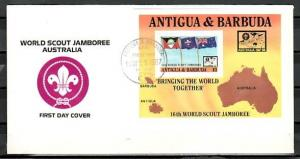 Antigua, Scott cat. 1057. Scout Jamboree s/sheet on a First day cover.