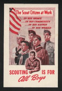 Boy Scouts - Scout Citizen At Work - Scouting Is For All Boys - Poster Stamp