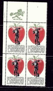 U.S. 1317 MNH 1966 Johnny Appleseed Zip Code Block