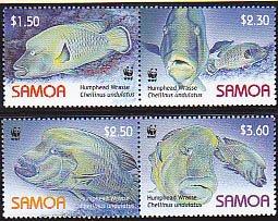 Samoa MNH 1092a-d Humphead Wrasse Fish 2006