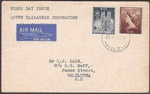 NIUE 1953 Coronation FDC airmail to NZ.....................................54289