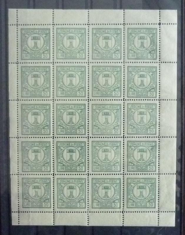ITALY - CROATIA - ''PISINO'' - 50 LIRE - LOCAL REVENUES - COMPLETE SHEET RR!! J2