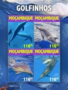 MOZAMBIQUE - 2019 - Dolphins - Perf 4v Sheet - MNH
