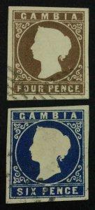 MOMEN: GAMBIA SG #2-3 1869 USED XF £400 LOT #63572