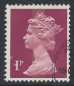 GB  Machin 1p X845  1 Center Phosphor band  Used  SC#  MH23 see scan and details