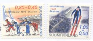 Finland Sc  B213-4 1977 Ski Championships  stamp set mint NH