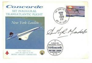 USA CONCORDE 1st FLIGHT * Captain Meadows* Signed BAC Cover New YORK 1977 Ap403