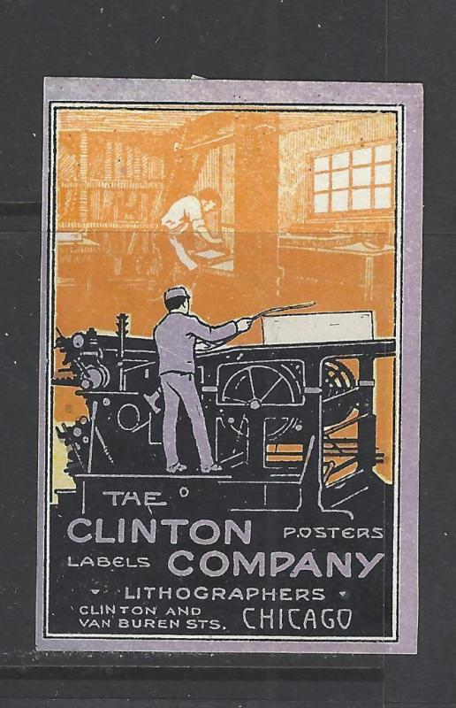 Early 1900s Clinton Co, Labels, Posters, Chicago Promotional Poster Stamp (AW41)