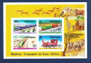 UGANDA - Scott 158a - FVF MNH S/S -  Trains - 1976
