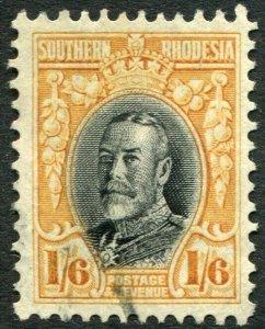 SOUTHERN RHODESIA-1931-37 1/6 Black & Orange-Yellow Line Perf 12 Sg 24 FU V48914