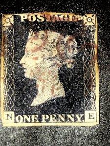 GB penny black, qv 1840 pl.9 great britain SG#2