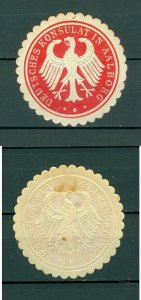 Denmark. Germany. WWII Seal Embossed MH. German Consulate, Aalborg. Eagle