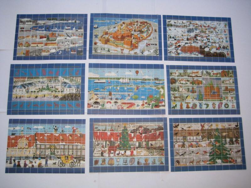 Denmark. 9 Christmas Sheet Mnh. Local Kalundborg 1986-87-88-89-90-91-92-93-94.