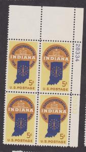 1308 Indiana MNH Plate Block UR