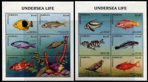 HERRICKSTAMP ANTIGUA Sc.# 2129-30 Underwater Marine Life (Fish) Stamps Sheetlets