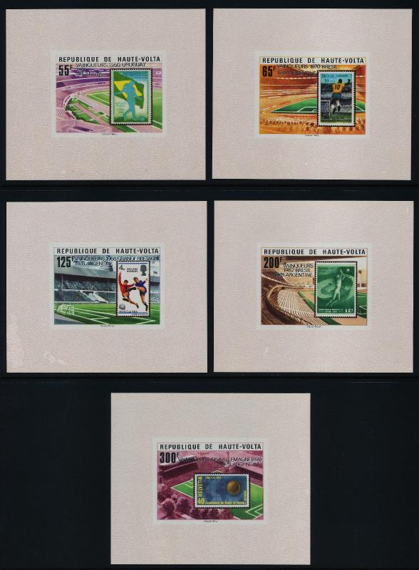 Upper Volta 486-90 imperf s/s MNH Stamp on Stamp, Sports, World Cup Soccer, o/p