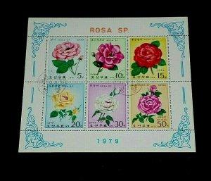 KOREA, 1979, ROSES, FLOWERS, CTO, SHEET/6, NICE! LQQK!