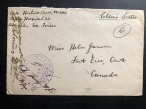 1918 Fieldpost Canada On Active Service Censored OAS WW1 Cover to Fort Erie