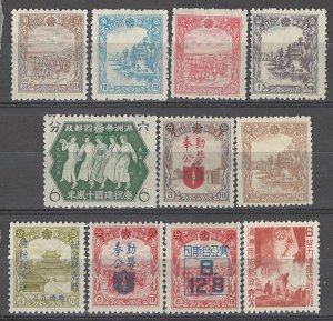 COLLECTION LOT # 3728 MANCHUKUO 11 MH STAMPS 1936+ CV+$20