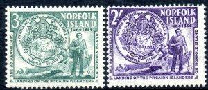 1956 Norfolk Island  Sg 19/20 Landing of Pitcairn Islanders Mounted Mint