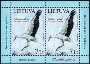 Lithuania #996 Miniature Sheet MNH - Birds White Stork National Bird (2013)