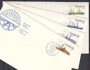 Canada, Scott cat. 700-703. Inland Ships issue. 4 First day covers. ^
