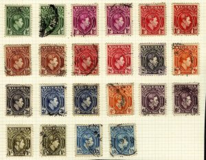 Nigeria 1938 – 51 KGV1 22 x various used stamps SG 49 – 57 ( E340 )