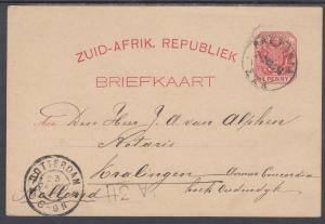 Transvaal H&G 2a used 1894 1p Postal Card, Pretoria to Holland