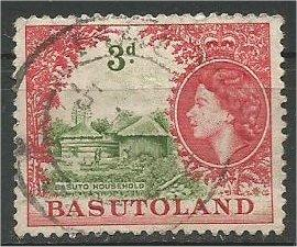 BASUTOLAND, 1954, used 3p, Basuto household  Scott 49