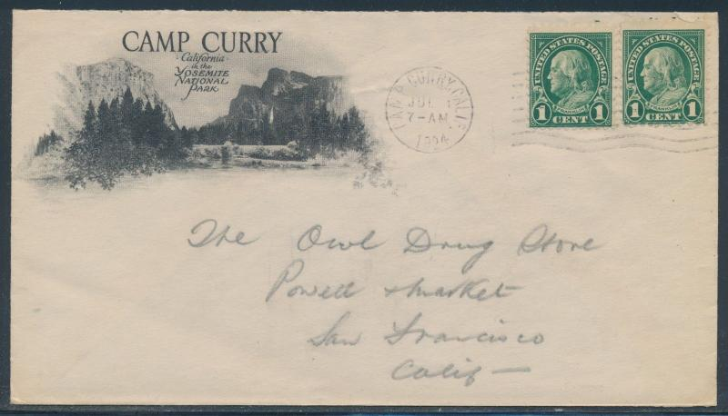 1924 COVER YOSEMITE NATIONAL PARK ADVT CAMP CURRY CAL CDS BR4219 HSAM