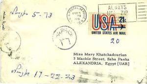 Airmail Issues 21c USA and Jet 1973 U.S. Postal Service, N.Y. 110 to Alexand...