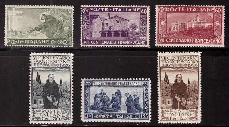 Italy Scott 178-183 MH* 1926 St. Francis of Assisi set  CV $18