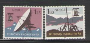 Norway Sc 763-4 1980 Nat Telephone100 yrs stamp mint NH
