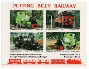 (I.B) Australia Cinderella : Local Railways Mini-Sheet (Puffing Billy)