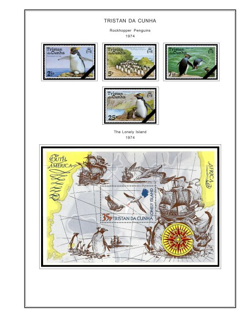 COLOR PRINTED TRISTAN DA CUNHA 1952-1999 STAMP ALBUM PAGES (87 illustr. pages)