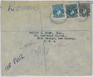 35083 - POSTAL HISTORY -  NIGERIA : registered airmail cover  LAGOS to  USA 1950