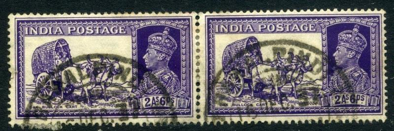 INDIA;  1937 early GVI issue fine used 2a. 6p. Pair