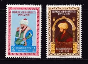 Turkey x 2 good MNH high values from the 1953 set