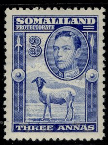 SOMALILAND PROTECTORATE GVI SG96, 3a bright blue, M MINT. Cat £18.