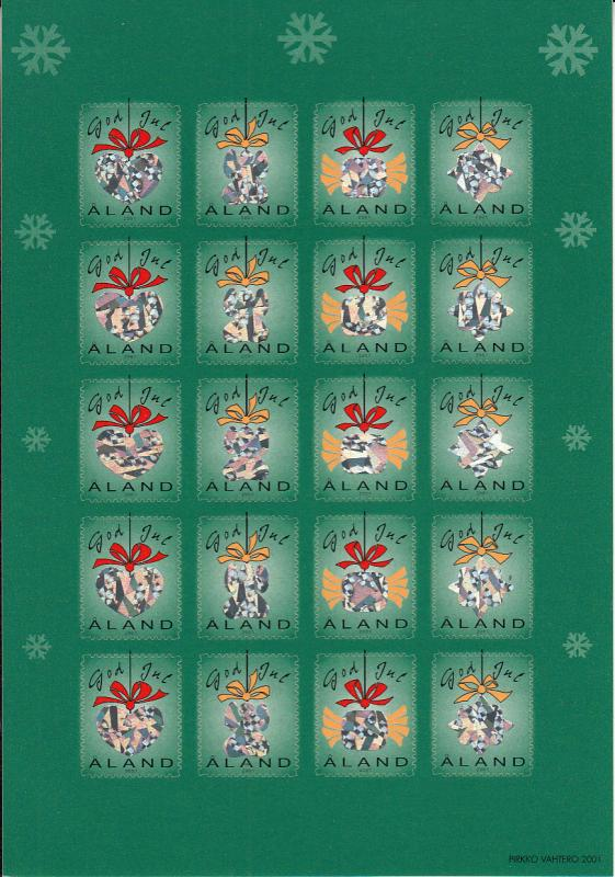 Aland 2001 MNH Sheet of 20 Christmas Seals Hologram Tree Ornaments 4 different