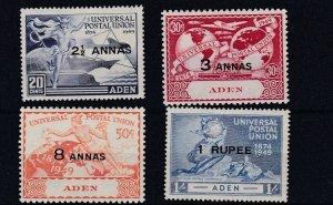 ADEN  1949  UPU SET OF 4  MH
