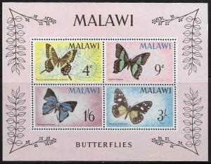 MALAWI, 40A, MNH, SS OF 4 , BUTTERFLIES