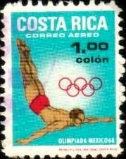 High Diving, 19th Olympics, Mexico City, Costa Rica SC#C486 used