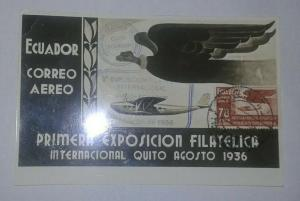O) 1936 ECUADOR, INTERNATIONAL PHILATELIC EXHIBITION IN QUITO 1936, CONDOR AND P